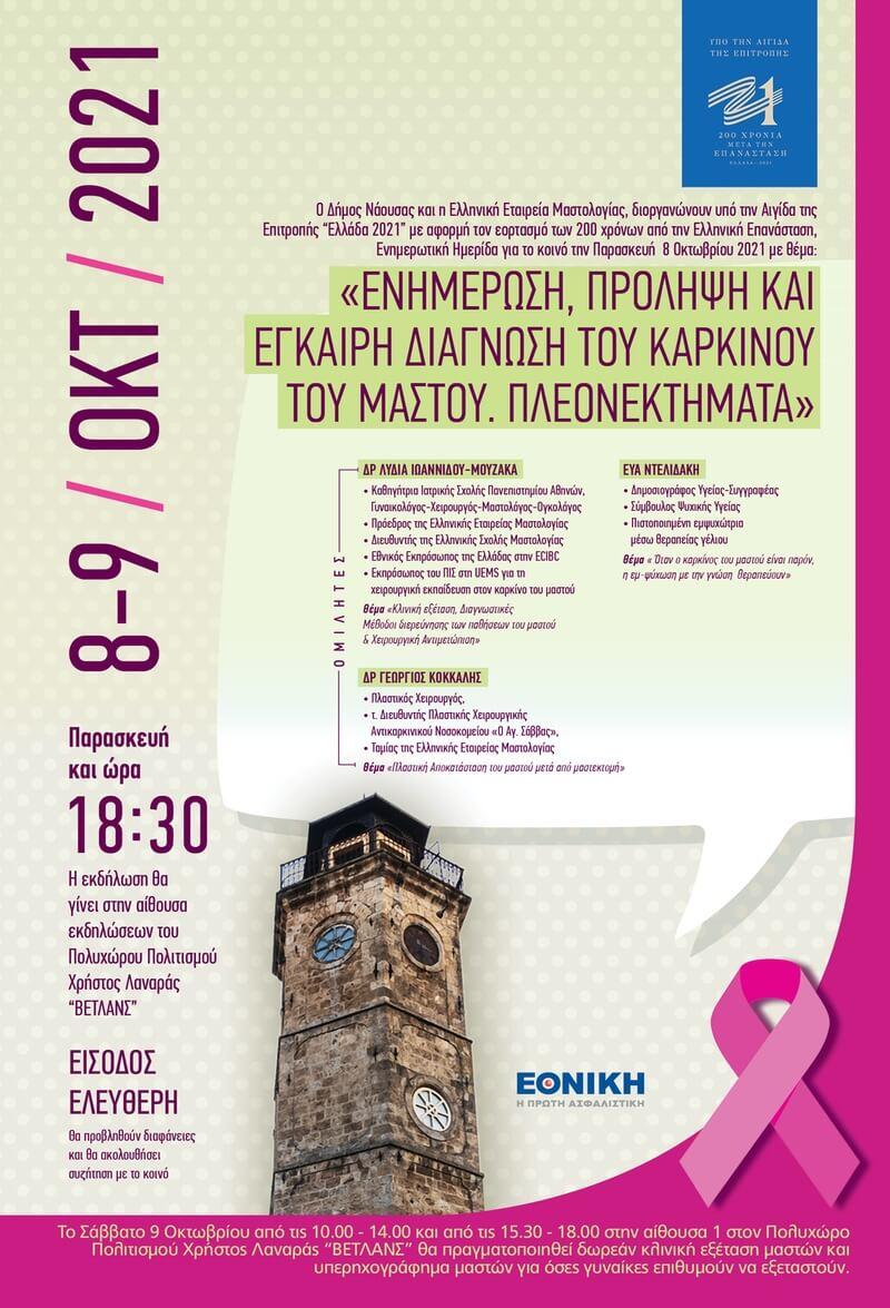 Διήμερη Δράση της Ελληνικής Μαστολογικής Εταιρείας με τη συνεργασία του Δήμου Νάουσας